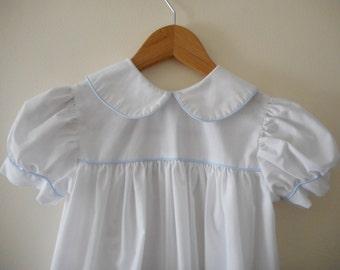 Vintage White Peter Pan Collare Dress - Size 6x