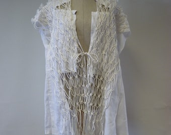 Artsy bohemia white linen vest, S size. One-of-a-kind.