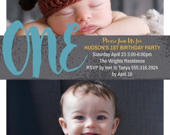Babies First Birthday Party Invitation Boy or Girl