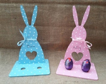 Personalised Easter Bunny with Easter Egg holders.