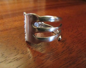 Fork ring.  Three tine Fork ring. Ornate Ring made from a vintage silver fork.