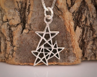 "Sterling Silver ""Three Wishes"" Wishing Star Pendant Necklace Lucky Charm Birthday Gift Comes With Gift Box"