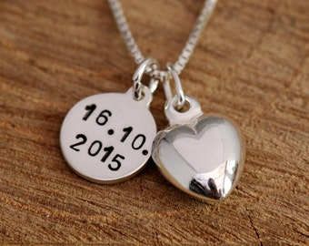 Bespoke Sterling Silver Anniversary Heart Pendant Necklace with Date Tag, Personalized Anniversary Gift, Comes with Gift Box