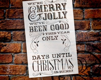 Merry Christmas Chalk Countdown Stencil - Select Size - STCL581 - by StudioR12