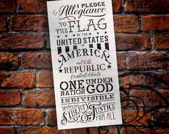"Pledge Of Allegiance Word Stencil - 12"" x 24"" - STCL1250 - by StudioR12"