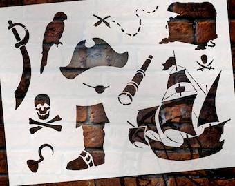 """A Pirate's Life For Me Art Elements Stencil - 8-1/2"""" x 11"""" - STCL1165_1 - by StudioR12"""