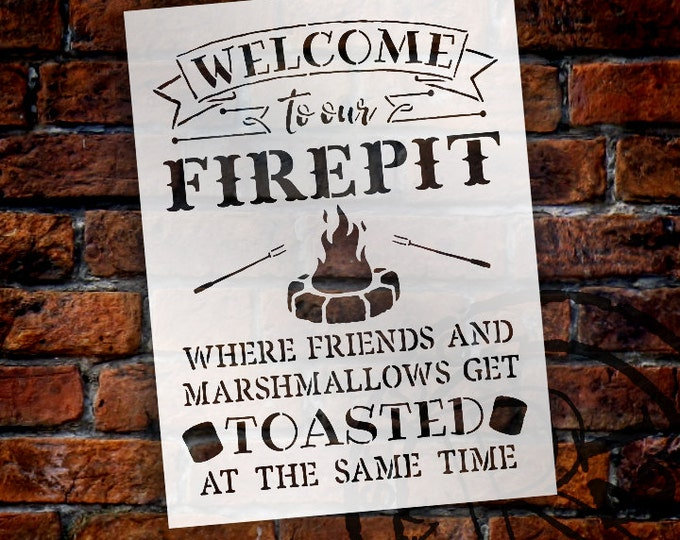 Featured listing image: Welcome To Our Firepit - Sign Stencil - Select Size - STCL1308 - by StudioR12