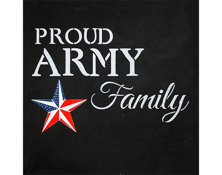 Proud Army Family Word Art Stencil Select Size By Studior12