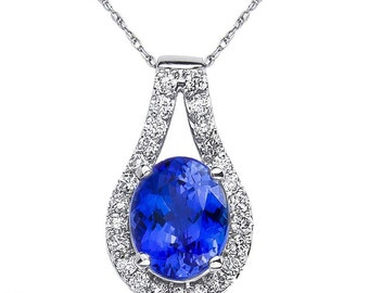 Ladies 1/2CT Diamond Pendant and chain with Tanzanite in 14k White Gold