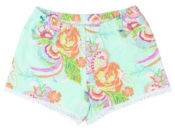 Aqua Floral Baby Shorts Girl Shorts Toddler Shorts Cluny Lace Shorts Aqua Flower Toddler Shorts Floral Shorts Floral Baby Gift Aqua