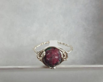 Ruby in Zoesite Wire Wrapped Ring