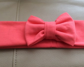 Coral Stretch Jersey knit Headband with Bow, Bow Head Wrap Jersey Headband, Ear Warmer- Choose Size