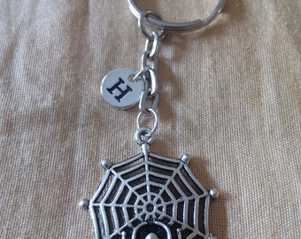 Spider Web Keychain with Initial, Spider Web Jewelry, Custom Jewelry, Charm Key chain