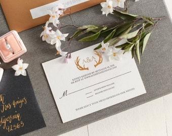 Winter Wonderland Rustic Wedding Invitation // Gold Foil // Letterpress // Edge painting // Custom