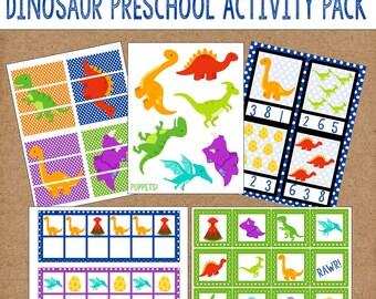 Dinosaur Preschool Games and Activities. 11 Different Activities. Instant Digital Download. Dinosaur Games, Dinosaur Activities.