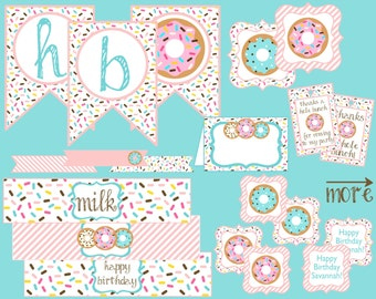 Donut Birthday Party Package. Digital Donut Party Decorations. Donut, Doughnut, Sprinkles, Banner, Cupcake Toppers, Favor Tags, Food Tents