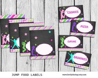 Jump FOOD Tent Labels BLANK ,Trampoline Party Printable, Bounce House food tent DIY, Instant Download
