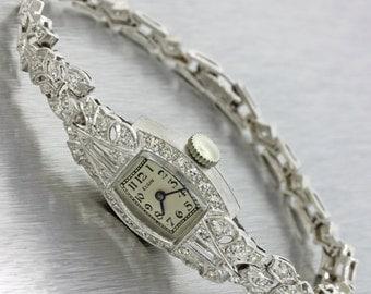 1930s Ladies Elgin Antique Art Deco Platinum 1.50ctw Diamond Watch