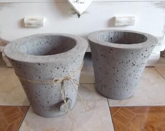 Concrete flower pot planter Bowl rustic Ø 27, 5 cm