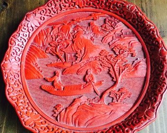 Beautiful Japanese (Okinawa) Woodcut Decorative Plate