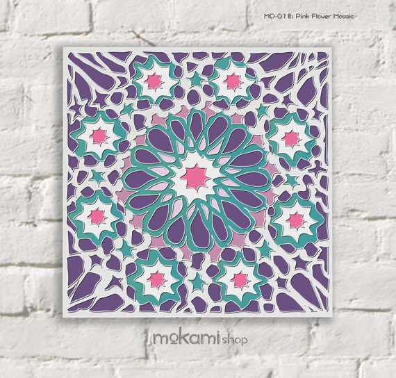 Moroccan canvas print purple flower mosaic moroccan wall for Purple mosaic bathroom accessories
