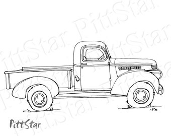 old truck drawing