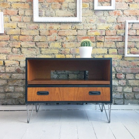 Upcycled vintage retro mid century gplan TV stand cabinet industrial hairpin legs