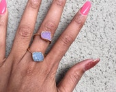 Druzy stone ring, sterling silver 923 gold ring