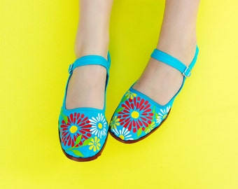 Turquoise, Floral, Mary Janes, floral print, colorful, fun, wedding shoes