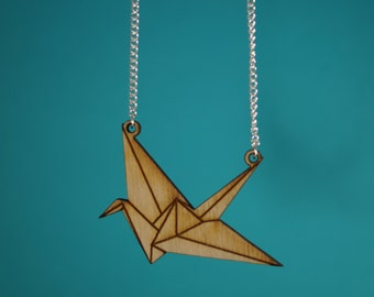 wooden laser cut origami crane necklace.