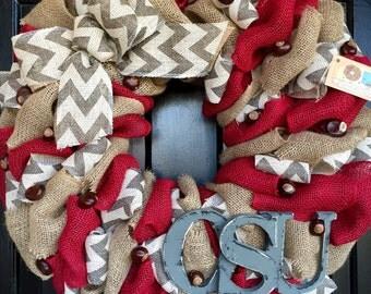 OSU Ohio State wreath with buckeyes