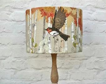 Printed robin lampshade, robin's in flight, drum lampshade, rustic lampshade, table lamp, bird lampshade, wildlife, british garden birds,