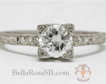 Elegant Old European Diamond Ring Platinum Edwardian Art Deco Belle Epoque Filigree Engraved Solitaire Engagement Ring Vintage On Sale