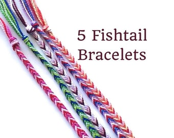 5 String Bracelets, Friendship Bracelets, Fishtail Bracelets, Thread Bracelets, Friendship Bracelet Set, Bulk Bracelets, Boho Bracelets