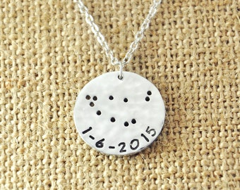 Capricorn Necklace, Zodiac Necklace, Hammered Constellation Jewelry, Capricorn Jewelry, Birthday Necklace, Customizable Your Name or Date