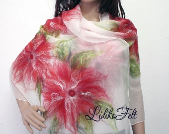 Women Nuno Felted Silk Scarf Shawl Wrap in WHITE RED FLOWERS