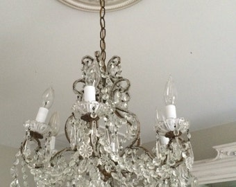Antique Macaroni Beaded French Italian Crystal Chandelier Vintage
