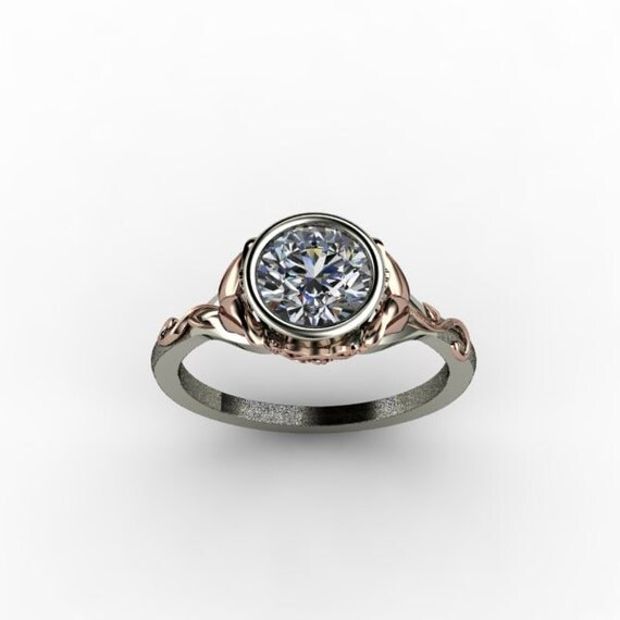 Items similar to Two Tone Engagement Ring with Rose Gold Floral Design on Etsy