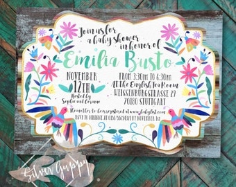 Watercolor Otomi inspired Baby Shower Invitation