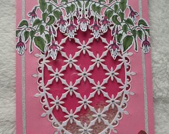 Handmade Blank Shaker Card with Fuchsia Vine, Fancy Shaker Window and Pink Butterflies