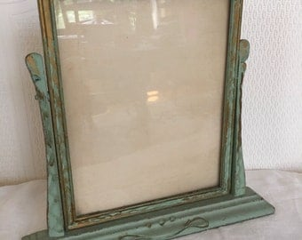Old Vintage Distressed Handpainted Wood Swivel Frame, Shabby Chic