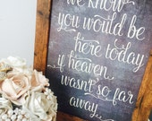 We know you would be her today if Heaven wasn't so far away- Rustic unframed A4 chalkboard effect memorial sign
