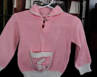 9, 12, 18 month baby girl bunny pink pocket Easter sweater