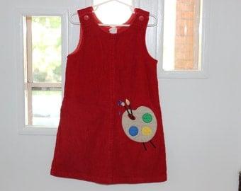 Art/ Paint palette red corduroy jumper dress size 5 Samara first day of school