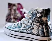 Custom painted anime manga Claymore converse hand painted sneakers manga unique shoes manga art unique gift for her for him custom order