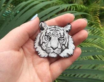Hand-drawn Tiger Brooch