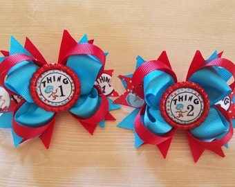 Thing 1  Thing 2 hair bows. Set of 2. Perfect for piggy tails :)  **You choose which Thing** .