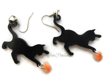 Cute black cats goldfish fishbowl earrings jewelry