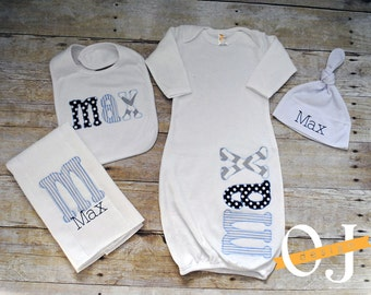 Personalized Baby Boy Gift Set - Newborn Gift Set - Infant Gown -  Newborn Hat - Bib - Burp Cloth - Baby Shower - Grey Navy Blue Light Blue