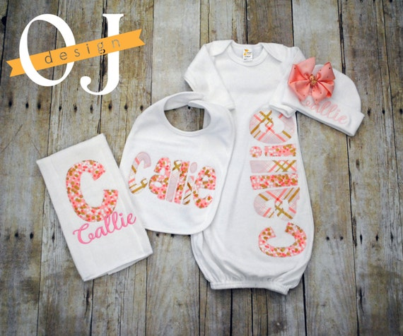 Personalized Baby Gift Sets : Personalized baby girl gift set newborn gown